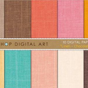 Digital Papers - Linen - Chocolate ..