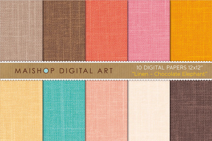 Digital Papers - Linen - Chocolate Elephant