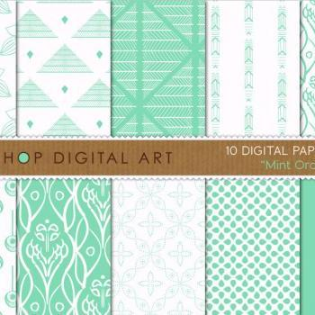 Digital Papers - Mint Orchid