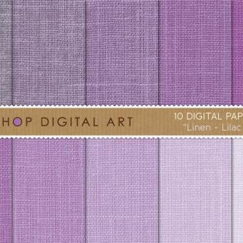 Digital Papers - Linen - Lilac Shades