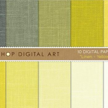 Digital Papers Linen Texture Yellow Shades 12x12 inches - INSTANT DOWNLOAD - Buy Any 2 Packs Get 1 Free