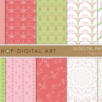 Digital Papers - Nenufar 12x12 inches - INSTANT DOWNLOAD - Buy Any 2 Packs Get 1 Free